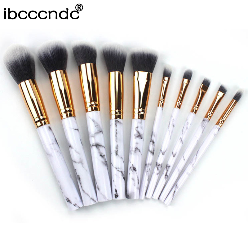 Marble-Pattern Foundation Eyeshadow Makeup-Brush Cosmetic-Powder Synthetic-Hair 10pcs/Set