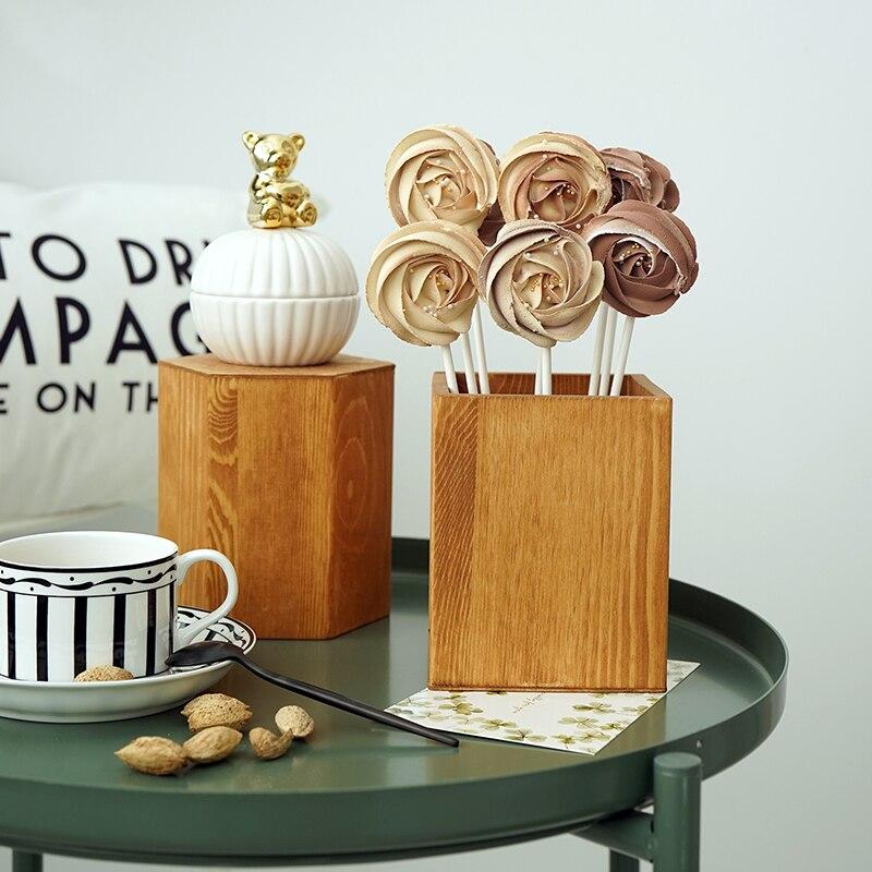 Lollipop Houder Bruin Cake Tafel Decoratie Make Borstel Opslag Bloemen Vaas Achtergrond Landschap Props Hout Stro Pot Elegant In Stijl