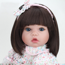 55cm Silicone Vinyl Reborn Dolls Model Toys 22″ Lovely Girl Baby Model Newborn Doll Model With the   Floral Dress Clothing Kids