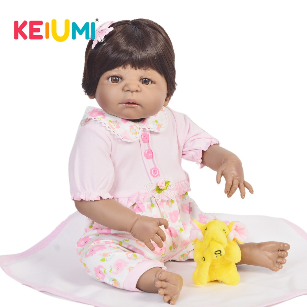 keiumi real looking 23 inch reborn dolls 57 cm full body silicone black skin lifelike girl baby. Black Bedroom Furniture Sets. Home Design Ideas