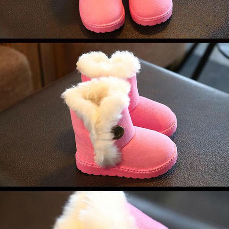 1_10Childrens boots, plush snow boots, non-slip, waterproof, warm, rubber, suede, boy, girl, children, shoes, outdoor thickening, winter