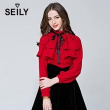 Seily 2018 Vintage Red Office Women Bow Tie Long Sleeve Sheer Shirt Work Wear Stand Collar Ruffles Blouse Femme Elegant Top Ropa self tie neckline sheer top