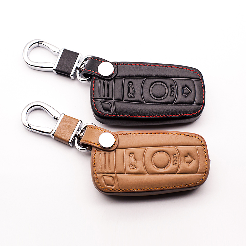 Hot sale Genuine Leather Car Key case Cover for BMW 1/3 5series X1 X3 X5 X6 Z4 Smart 3 buttons remote protect shell starline a93