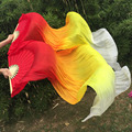 New 1pair=2pcs 100% real Silk dancing Fan Veils Sexy belly dance Pure real Silk Fans 1.8x0.9m size Red/Orange/Yellow/White