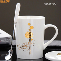 MEEOW Golden Rose Coffee Mug Lovers Mug Newest Design Colorfull Cute Cup Fashion Ceramic Cup With