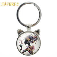 TAFREE Beautiful Butterfly Girl keychain Picture of aesthetic conception key chain charm glass Vintage ring holder jewelry A53