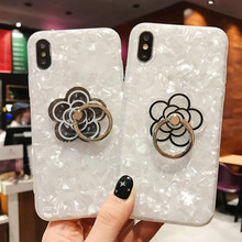 Shell Phone Case For iPhone X 7 8 White Cases Apple 6 6s Plus Glitter Cover with Finger Ring Flower Pattern Fitted