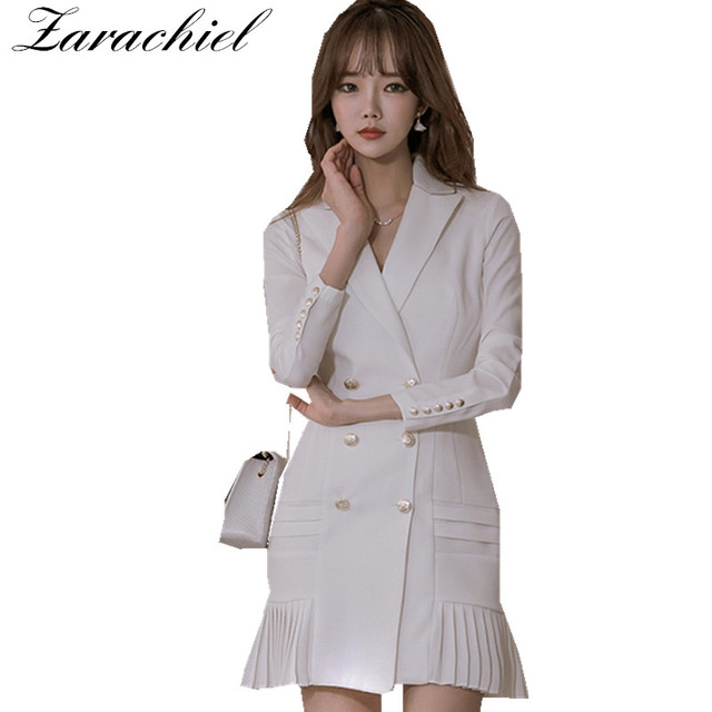 44215091ce86 Women Blazers Dresses Spring Double Breasted Long Sleeve Sexy V-Neck  Pleated Dress Office Lady Slim Basic Vestidos White Black