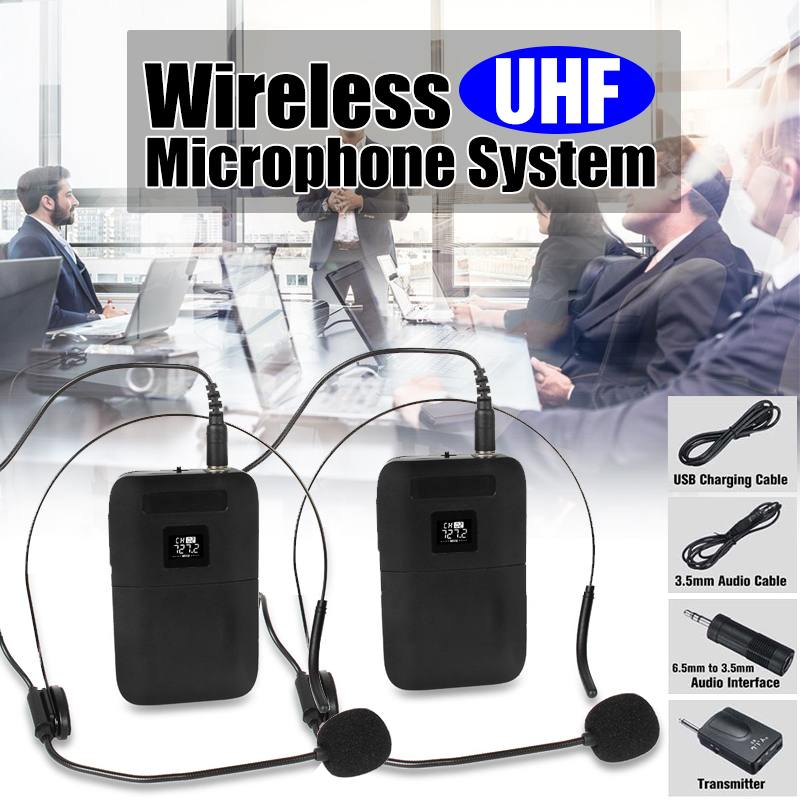 Professional Dual Channel Head-mounted UHF Wireless Microphone System Mic Receiver Transmitter LED Display For Microphone Speech
