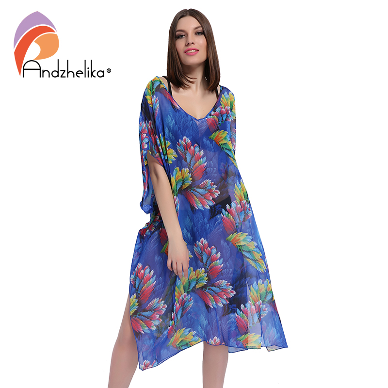 Andzhelika 2018 New Plus Size Beach Cover Up Women Print Chiffon beach dress Swimwear Cover Up Dress Beach Wear