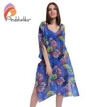 Andzhelika 2018 New Plus Size Beach Cover Up Women Print Chiffon beach dress Swimwear Cover Up Dress Beach Wear