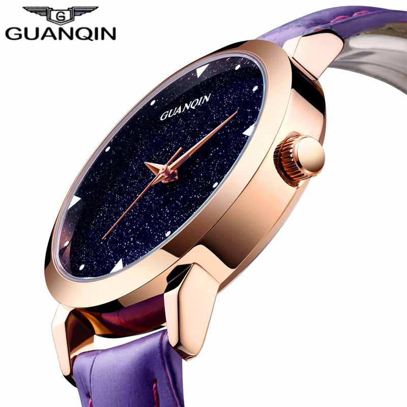 ФОТО Relogio Feminino 2017 Hot GUANQIN Watch Women Dress Designer Simple Quartz Watch Ladies Fashion Casual Leather Wristwatch Hour