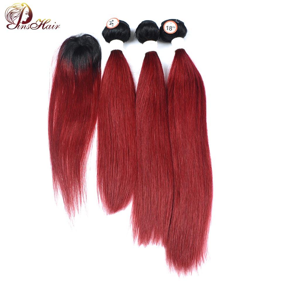 Pinshair Hair Ombre Bundles With Closure 1B 99J Burgundy Brazilian Straight Human Hair Weave 3 Bundles With Closure Dark NonRemy