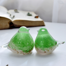 Creative Crystal glass Crafts Colored Glaze birds Birdie Decorative Figurines animal wedding decoration gift Couple gifts