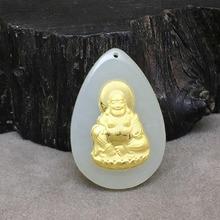 Yu xin yuan Fine jewelry Hetian 24k gold jade nlay Drop Buddha necklace fashion charm pendant