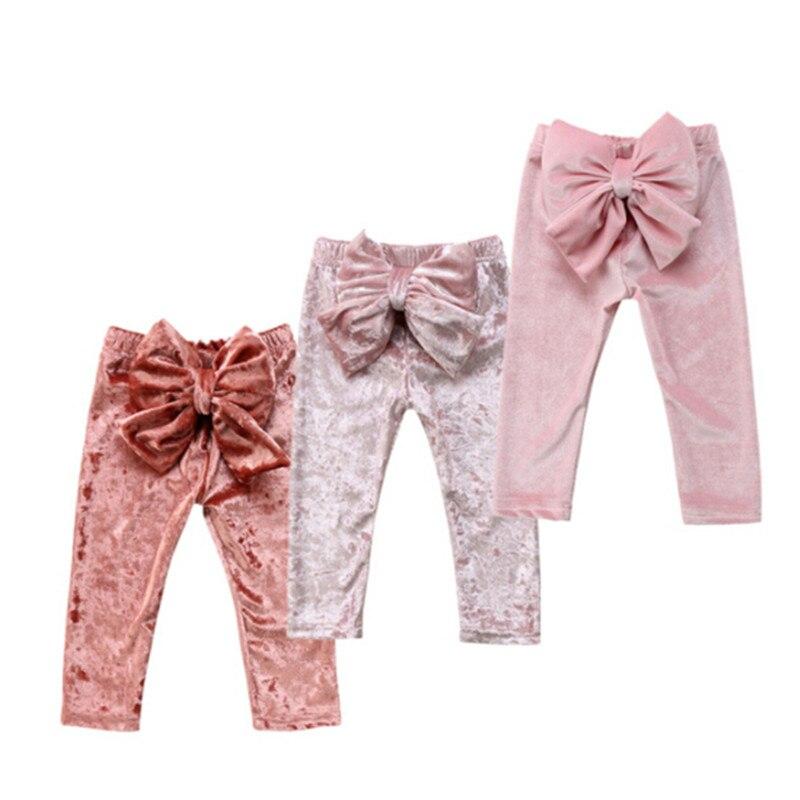 цена на 2018 Baby Clothing Toddler Kids Baby Girls Princess Velvet Bowknot Cute Bottoms Pants Leggings Patchwork Clothes
