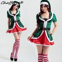 Chafferer New Green Christmas Elf Costume Cosplay Sexy Gonne Corte 2017 Ultima Moda Abito Di Natale Vestito Sexy Donna Pijama