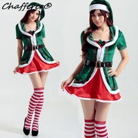 New Green Christmas Elf Costume Cosplay Sexy Short Skirts 2017 Latest Fashion Christmas Dress Sexy Woman