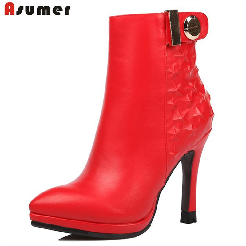 ASUMER 2017 autumn hot sale high quality suede ankle boots elegant zip buckle high heels pointed toe solid mature women boots