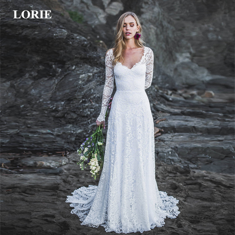 LORIE Wedding Dress 2019 Open Back Scoop neckline Long Sleeve Wedding Dress Lace Sleeves Low Back