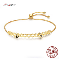TONGZHE 100 925 Sterling Silver Bee Bracelets Colorful Heart Luxury Love Honey Comb Golden Bee Jewelry