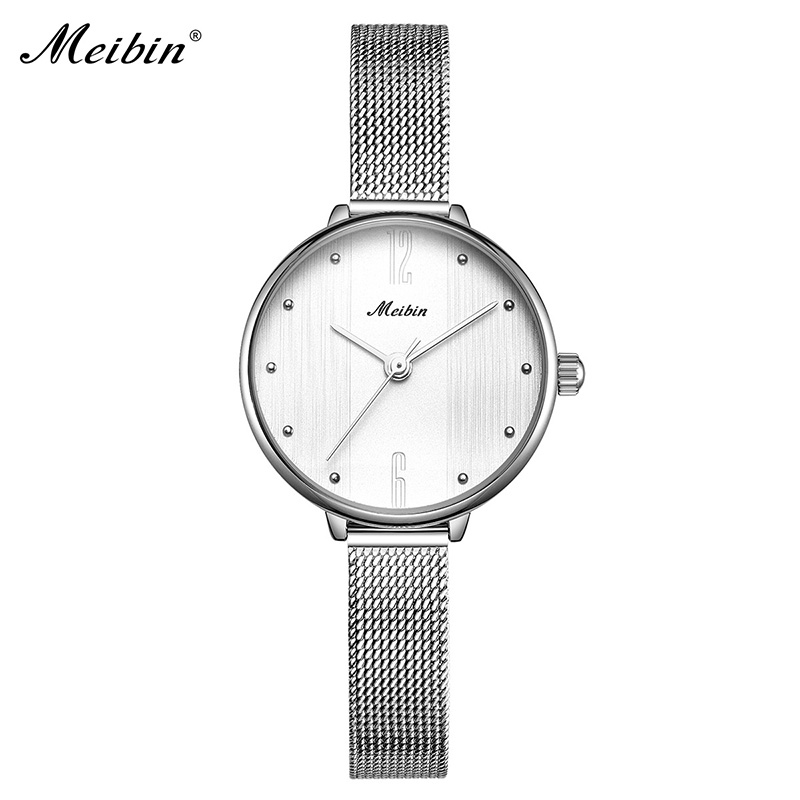 MEIBIN Super Slim Sliver Mesh Stainless Steel Watches Women Luxury Top Brand Quartz Watch Ladies Wristwatch Fashion Gift Clock onlyou brand luxury fashion watches women men quartz watch high quality stainless steel wristwatches ladies dress watch 8892