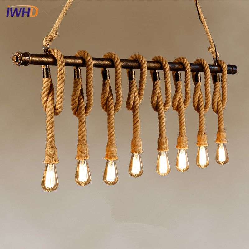 Hemp Rope Industrial Vintage Pendant Lights Loft Iron Water Pipe Pendant Lamp Hanglamp Fixtures Home Lighting Lamparas Colgantes fashion vintage metal rope chandelier ceiling lamp 6 candle lights lighting fixtures iron black rusty color for home lighting