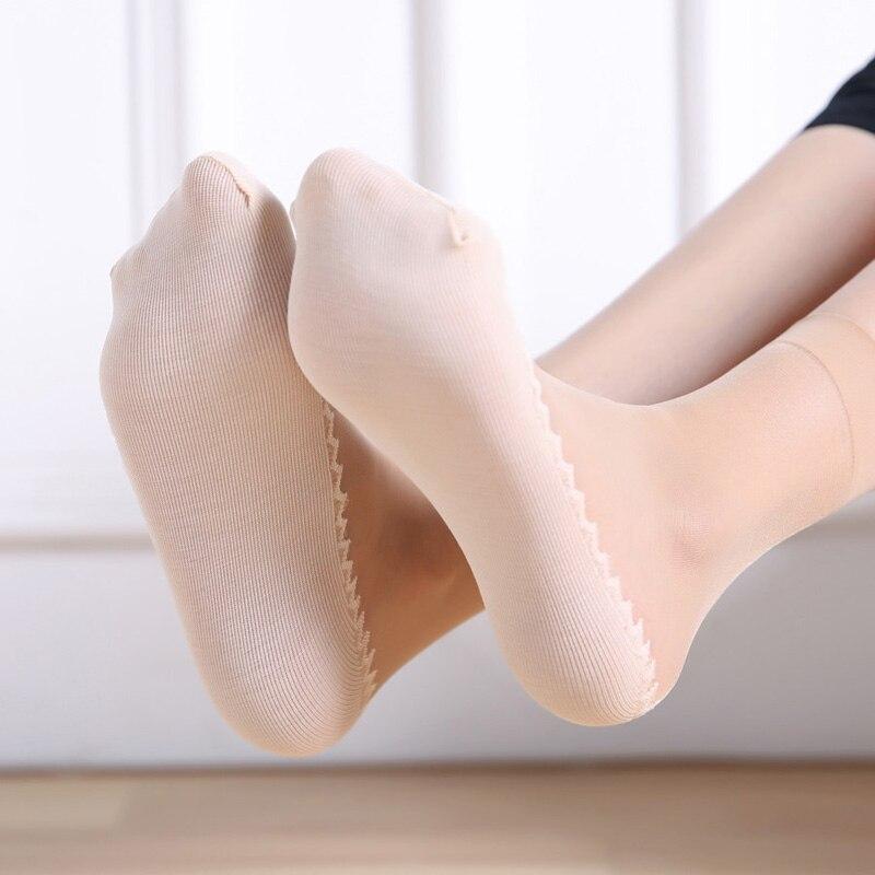 20Pcs=10Pairs/Lot Women's Socks Velvet Thin Silk Socks Anti-Slip Cotton Bottom Breathable Wicking Socks Short Size Eur 35-41