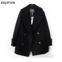 OLGITUM Hot Sale 2017Winter New Fashion Women Woolen Coat Double Breasted Retro Wool Coat Solid Color Loose Wool Coat Plus Size