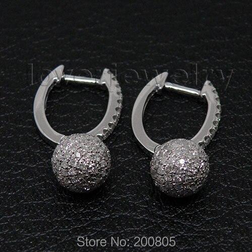 LOVERJWELRY Diamond Dangle Earrings Vintage Solid 14Kt White Gold Natural Diamonds Wedding Drop Earrings For Women