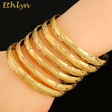 Ethlyn 6Piece/Lot Luxurious Gold Color Cooper Can Open Charm Bracelets For Women Bangle Jewelry Wedding  Bangles B046