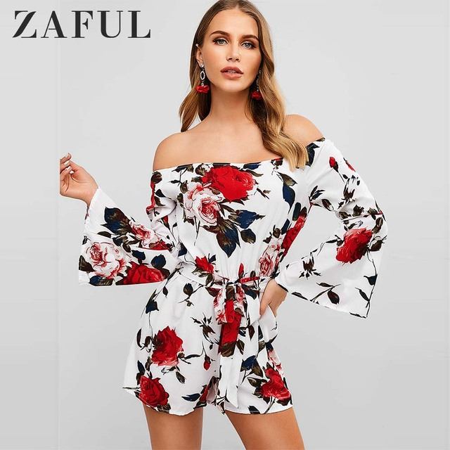 ZAFUL Belted Off Shoulder Flower Romper Flare Sleeves Women Summer Playsuits Vacation Holiday Beach Jumpsuits Streetwear 2019