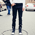 men's denim pant high street fashion hiphop trousers stage show clothing 2017 spring new men casual pants legs buckle design