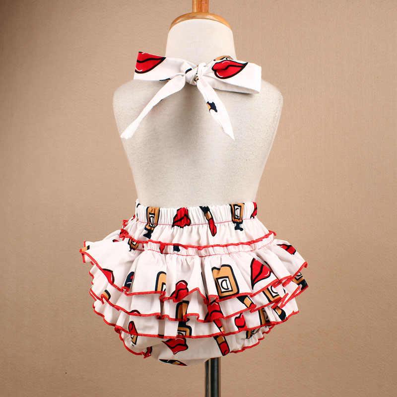 Новинка 2019 года, хлопковый комбинезон с оборками для маленьких девочек, повязка на голову, комплект с рисунком красных губ, без рукавов, одежда для фотосессии для маленьких девочек, YC045