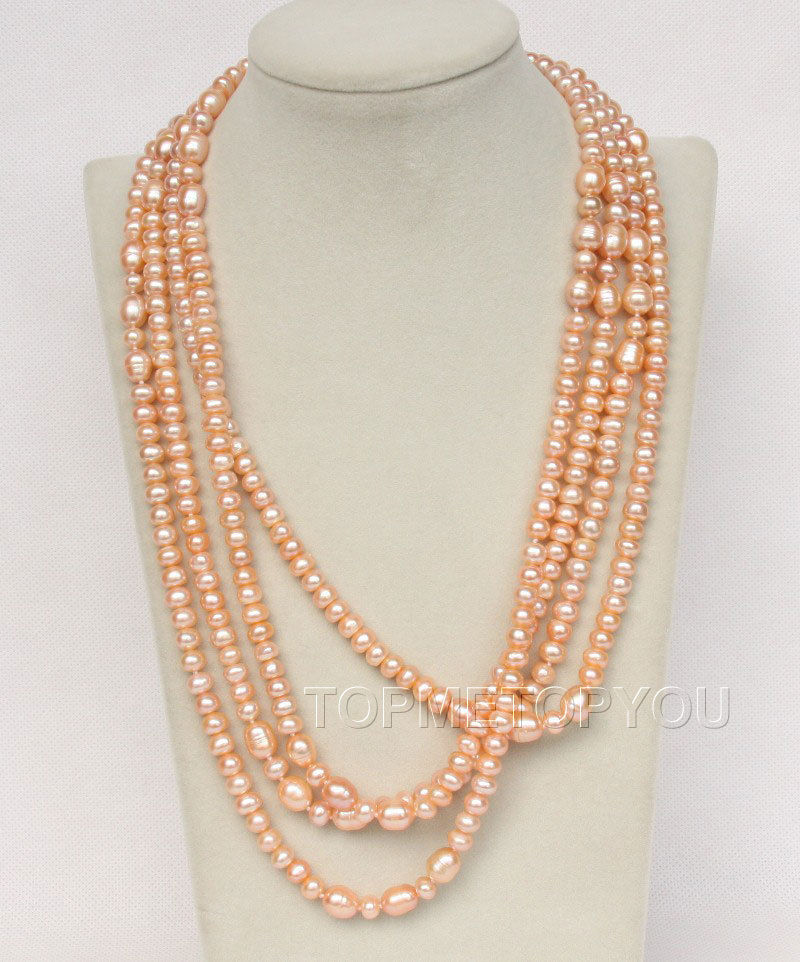 "Free Shipping>>new hot length 88"" 11mm baroque pink freshwater pearls necklace e2517"