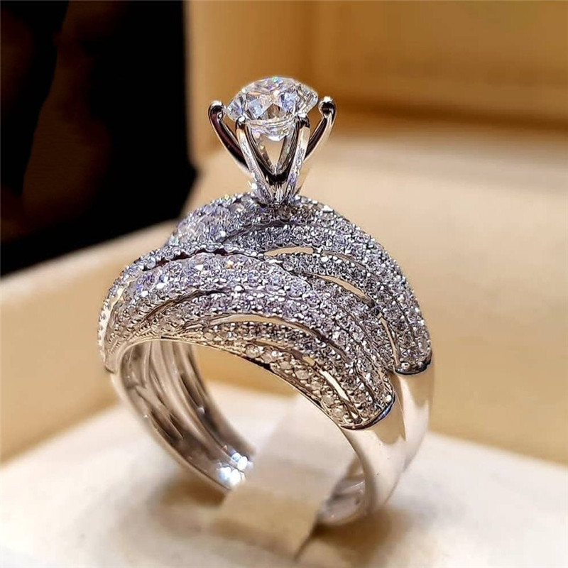 2 шт. свадебный набор элегантные кольца для женщин серебряного цвета Свадебные обручальные модные украшения с полностью блестящим Cubiz женское кольцо с цирконом - Цвет основного камня: B