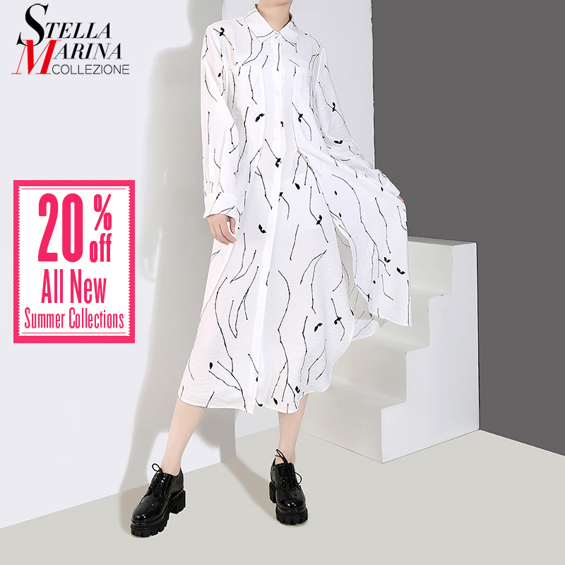 1867d147fd7acf Skup Tanie Nowy 2019 koreański styl kobiety czarny biały nieregularne paski  długa sukienka koszulowa z długim rękawem kobiet dorywczo nosić sukienka  szata ...
