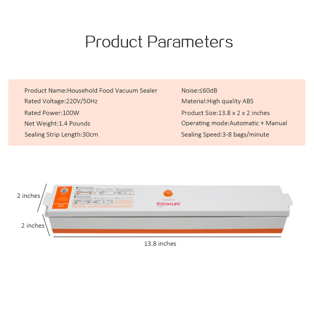 TINTON LIFE 220V/110V Household Food Vacuum Sealer Packaging Machine Film Sealer Vacuum Packer Including 15Pcs Bags Free Vacuum Food Sealers