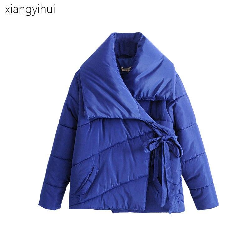 2018 Black Dark Blue Women Cotton Jackets Long Sleeve Thick Solid Warm Parka Slim Style Female Warm Clothes Lady Winter Coat napapijri guji check dark blue
