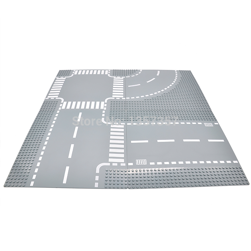 Legoingly City Road Base Plate Straight Crossroad Curve T-Junction Street Baseplate Building Blocks Bricks Toys For Children new big size 40 40cm blocks diy baseplate 50 50 dots diy small bricks building blocks base plate green grey blue