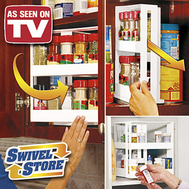 Free Shipping 24pcs/lot Swivel Store Spice Rack As Seen On TV Swivel Store Space Saving Cabinet Organizer