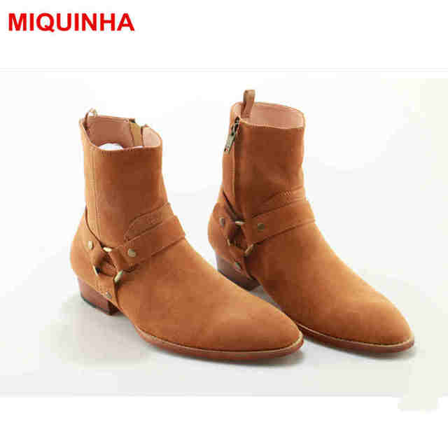 MIQUINHA Round Toe Ankle Boots Height Increasing Zippered Shoe European Luxury Super Star Runway Short Booties Metal Decor Shoes
