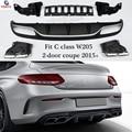 Labio del difusor del parachoques trasero del estilo del AMG de Mercedes W205 para Bez A205 C205 con el paquete AMG 2015 + Coupe Cabriolet C180 c250 C300 C350