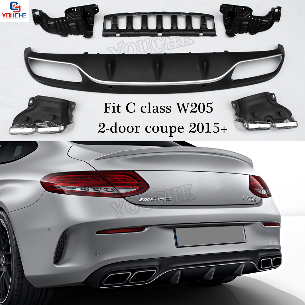 Mercedes W205 AMG Style Rear Bumper Diffuser Lip for Bnez A205 C205 with AMG Package 2015 + Coupe Cabriolet C180 C250 C300 C350
