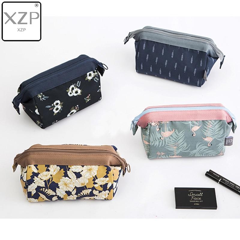 XZP Flamingo Flower Printed Cosmetic Bag Women Necessaire Make Up Bag Travel Waterproof Portable Makeup Bag Toiletry Kits