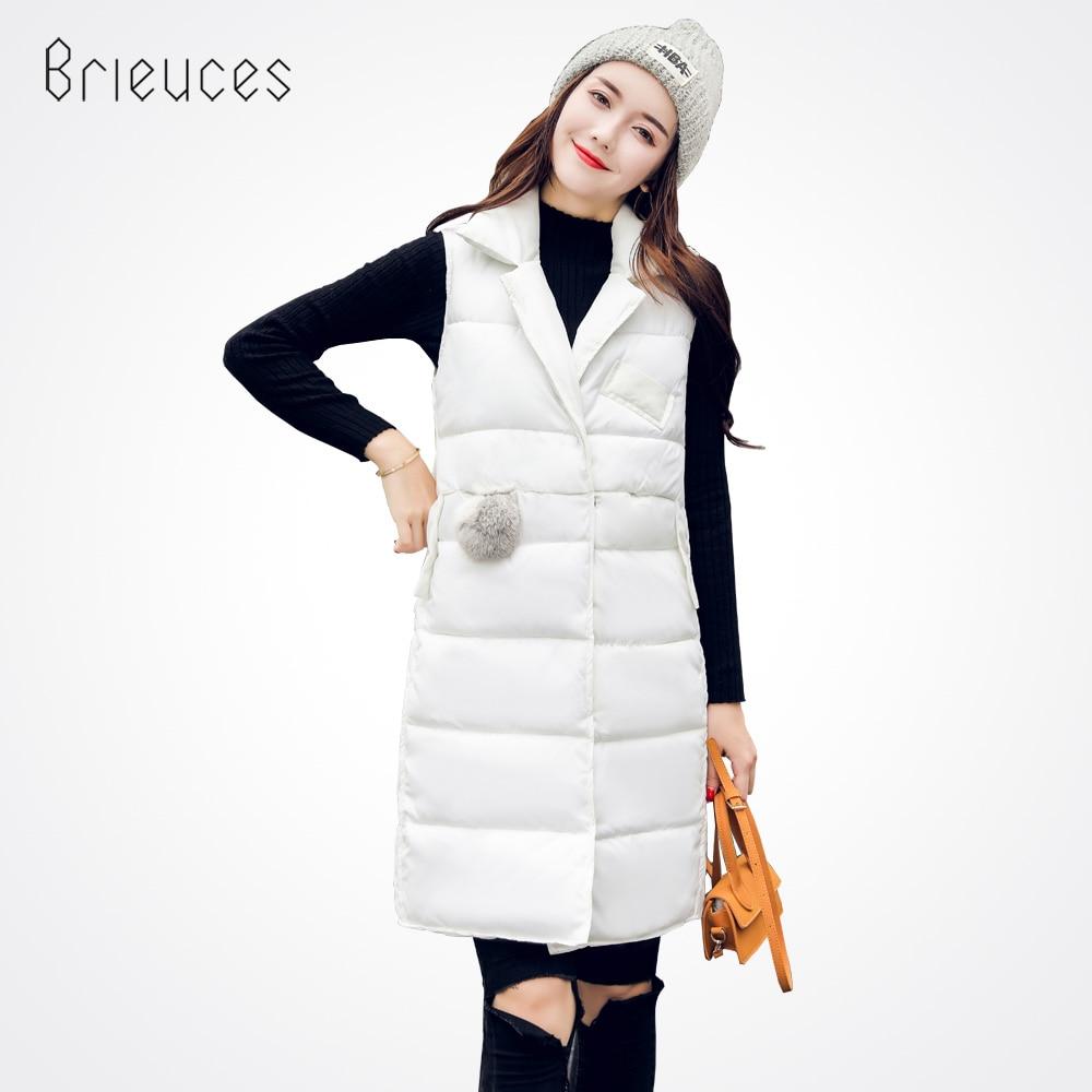 Brieuces 2018 női téli mellény mellény új nők hosszú mellény ujjatlan kabát ruha gallér le pamut meleg mellény nő