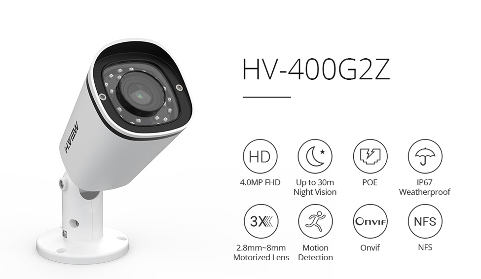 H.VIEW PoE IP Camera 4mp H.265 CCTV Camera PoE Cameras Outdoor 2.8-8mm Motorized Lens Auto Focus Onvif NAS IP Cameras