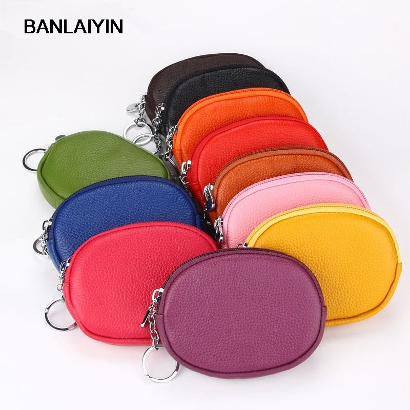 Genuine Leather Women Men Wallets Brand Zipper Design Circle Purse Small Clutch Card Holder Coins Purses Key Ring Wallet