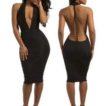 Plunge Front Deep V-Neck Backless Women Sexy Halter Backless Slim Bodycon Dress