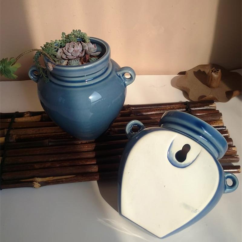 keramičke zidne plantaže planters za succulents plave keramičke - Vrtni proizvodi - Foto 5